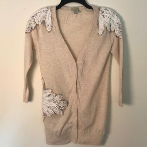 Anthropologie Cardigan with crochet details